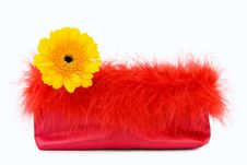 Party Girl - Red Silk Evening Bag With Flower Stock Images