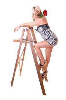 Free Girl On Stepladder. Stock Image - 10017781