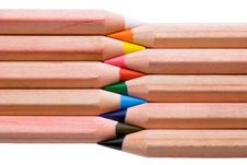 Colorful Pencils In A Row Stock Images