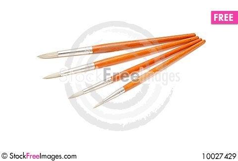Free Four Paintbrushes Isolated Royalty Free Stock Images - 10027429