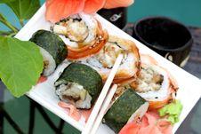 Free Sushi Rolls With Sake Set Royalty Free Stock Photography - 10020017