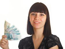 Free Woman Holding Money Stock Image - 10021221