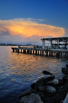 Free Abandoned Pier At Sunset Stock Photos - 10021413