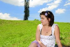 Free Woman On Green Summer Grass Royalty Free Stock Photography - 10021647