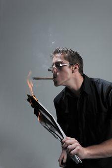 Free Man Lights Cigar Stock Photos - 10021923