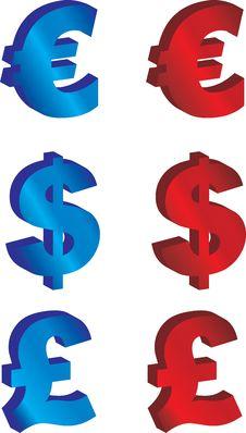 Free Euro, Pound And Dollar Stock Photo - 10023760