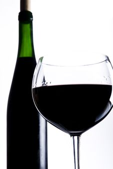 Glass Of Wine With Bottle Stock Images