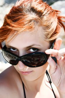 Free Portrait Of Pretty Woman With Red Hair Stock Photo - 10026560