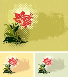 Free Grunge Background And Flower(vector) Stock Photo - 10026640