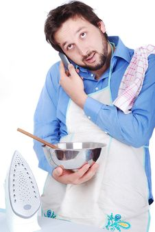 Man Doing All House Works Together Royalty Free Stock Photography