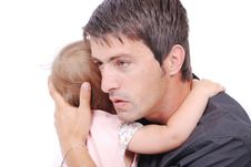 Young Father Is Huging His Baby Stock Images