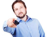 Man With Remote Control Royalty Free Stock Photography