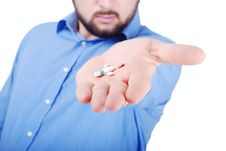 Free Isolated Man Offering Medical Pills Stock Image - 10028101