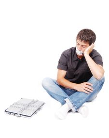 Free Man With Isolated Mouth And Chained Laptop Stock Image - 10028251