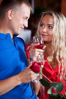 The Man And  Fine Girl In Love Stock Images