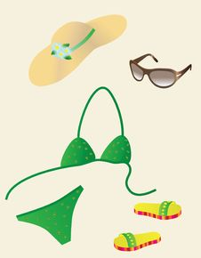 A Set Of Beach Accessories Stock Image