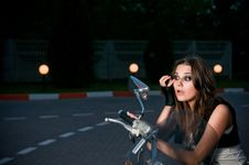 Free Biker Girl Royalty Free Stock Photos - 10029858