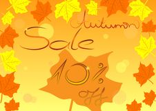 Colorful Autumn Sale Shopping Concept, Vector. Royalty Free Stock Photo