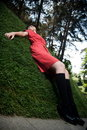 Free In Red On The Grass Royalty Free Stock Photo - 10034515