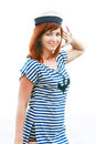 Free Girl In Striped Vest Saluting Royalty Free Stock Image - 10037476