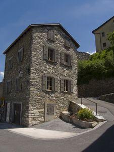 Free Medieval House Exterior Saillon Stock Photos - 10033343