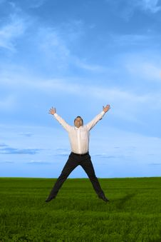Free Businessman Jumping On The Green Grass Stock Images - 10033544