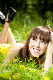 Free Beauty Young Woman Relaxing In The Grass Royalty Free Stock Photos - 10034298