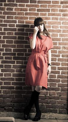 Free Beauty Woman Against Brick Wall Stock Photos - 10034443
