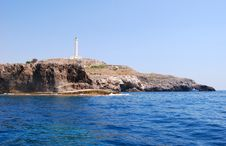 Lighthouse On Rocks On The Sea Royalty Free Stock Photography