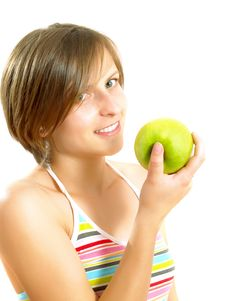 Free Cute Young Lady With An Apple Stock Photography - 10035062