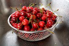 Free Wet Fresh Cherry In Sink Stock Photo - 10035570