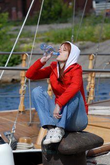 Girl Drinking Water Royalty Free Stock Image