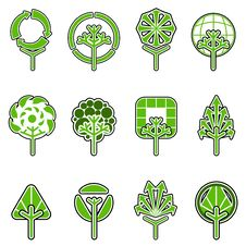 Free Tree Icon Set Royalty Free Stock Photo - 10036975