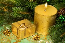 Free Gold Festive Candle Royalty Free Stock Photography - 10037437