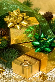 Free Gold Gift Boxes Stock Photo - 10037480
