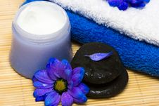 Cream, Stones And Towel Stock Image