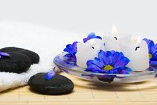 Free Candles In Water With Blue Flowers Stock Photo - 10038070