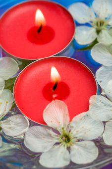 Free Candle With Spring Flowers Royalty Free Stock Images - 10038639
