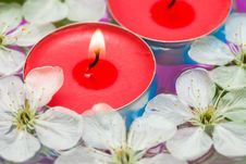 Free Candle With Spring Flowers Stock Image - 10038661