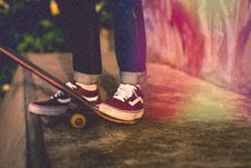 Free Footwear, Shoe, Skateboard, Skateboarding Equipment And Supplies Royalty Free Stock Photo - 100340955