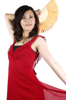 Chinese Girl In Red Skirt Royalty Free Stock Photo