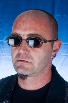 Portrait Of   Male Model Wearing Sunglasses Stock Photo