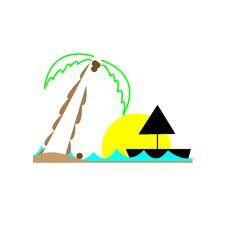 Free Sun Sea And Palm Tree Stock Image - 10041821