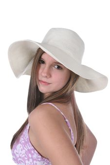 Pretty Teen In Floppy White Straw Hat Royalty Free Stock Image