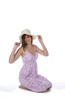 Pretty Young Teen In Purple Dress And Straw Hat Stock Images