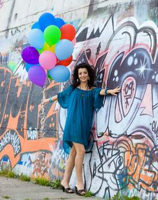 Free Woman With Colorful Balloons Stock Images - 10044464