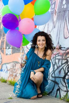 Free Happy Woman With Balloons Royalty Free Stock Photos - 10044518