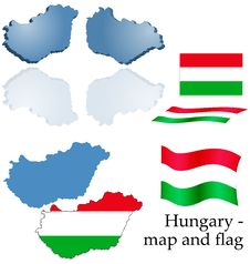 Hungary - Map And Flag Set Royalty Free Stock Photo