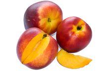 Free Three Nectarines And Segment Stock Photography - 10048012