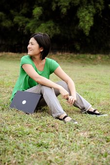Free Asian Girl Relaxing In The Park Royalty Free Stock Photography - 10048967